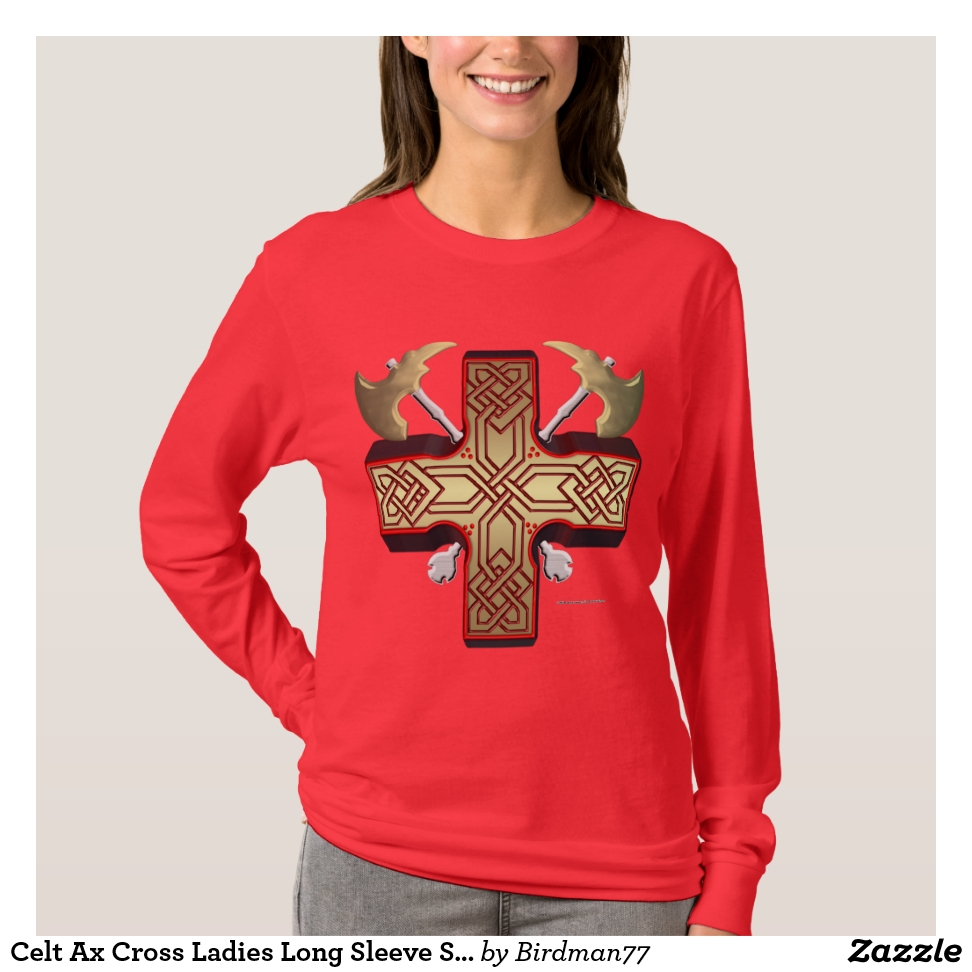 Celt Ax Cross Ladies Long Sleeve Shirt - Best Selling Long-Sleeve Street Fashion Shirt Designs