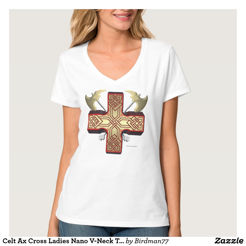 Celt Ax Cross Ladies Nano V-Neck T-Shirt - Best Selling Long-Sleeve Street Fashion Shirt Designs
