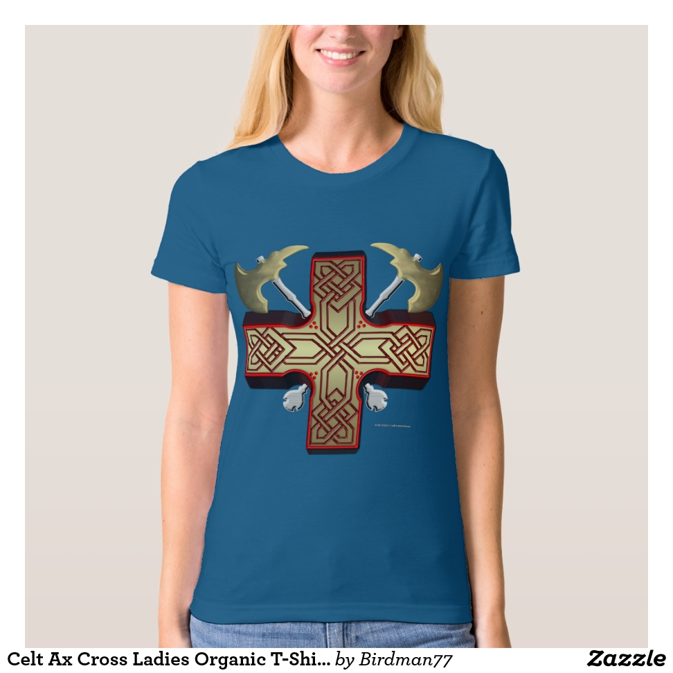 Celt Ax Cross Ladies Organic T-Shirt - Best Selling Long-Sleeve Street Fashion Shirt Designs