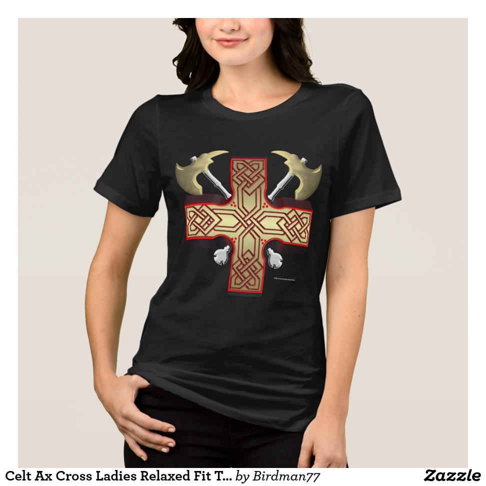 Celt Ax Cross Ladies Relaxed Fit Tee - Best Selling Long-Sleeve Street Fashion Shirt Designs