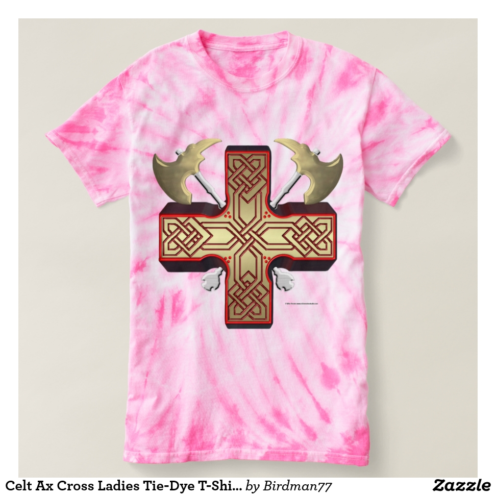 Celt Ax Cross Ladies Tie-Dye T-Shirt - Best Selling Long-Sleeve Street Fashion Shirt Designs