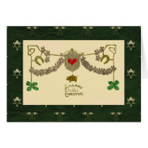 Celti Christmas Green Shamrocks Gold Pig Horseshoe Card