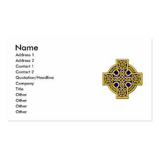 Celtic 4 way cross in gold and blue Double-Sided standard business cards (Pack of 100)