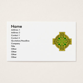Celtic 4 way cross in gold and green business card