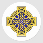 Celtic 4 way gold and blue classic round sticker