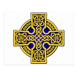 Celtic 4 way gold and blue postcard