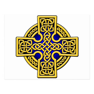 Celtic 4 way gold and blue postcards