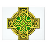 Celtic 4 way gold and green invitation