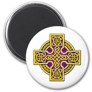 Celtic 4 way gold and purple 2 inch round magnet