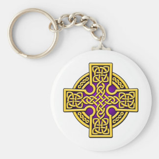 Celtic 4 way gold and purple keychain