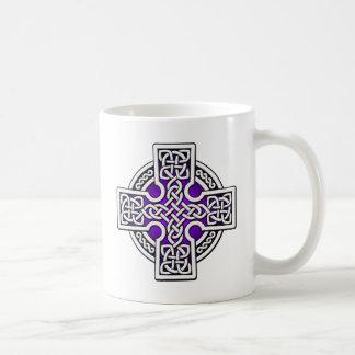 Celtic 4 way silver and purple coffee mug