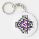 Celtic 4 way silver and purple keychains