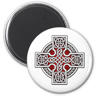 Celtic 4 way silver and red 2 inch round magnet