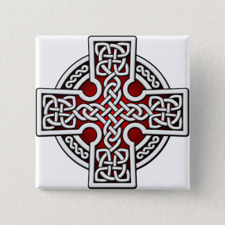 Celtic 4 way silver and red pinback button
