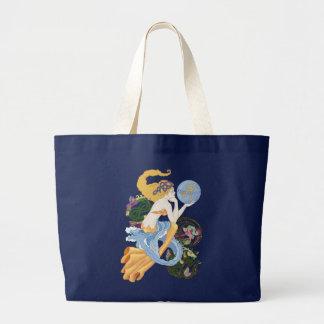 Celtic A for Aquarius Mermaid Tote Bags