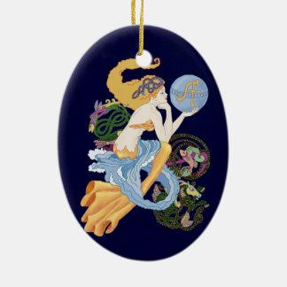 """Celtic """"A""""for Aquarius Mermaid Ceramic Ornament"""