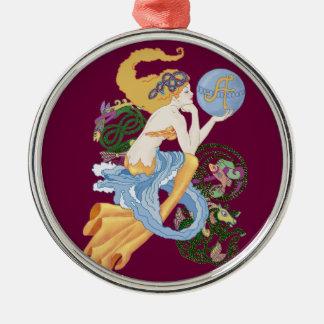 "Celtic ""A""for Aquarius Mermaid Metal Ornament"