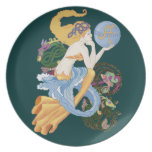 """Celtic """"A""""for Aquarius Mermaid Party Plate"""