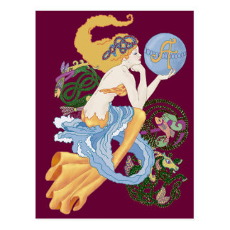 "Celtic ""A""for Aquarius Mermaid Postcard"
