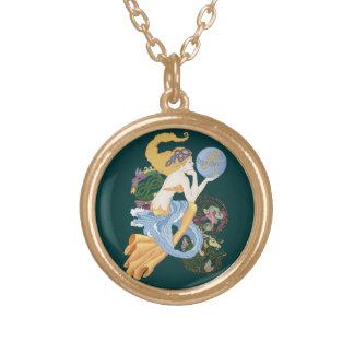 """Celtic """"A""""for Aquarius Mermaid Round Pendant Necklace"""