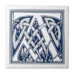 Celtic A Monogram Small Square Tile