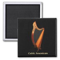 Celtic American Harp Magnet