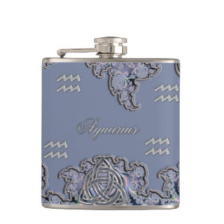 Celtic Aquarius Mystical Zodiac Fractal Flask