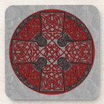 Celtic Art Cross Black and Red Beverage Coaster