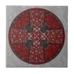 Celtic Art Cross Black and Red Ceramic Tile
