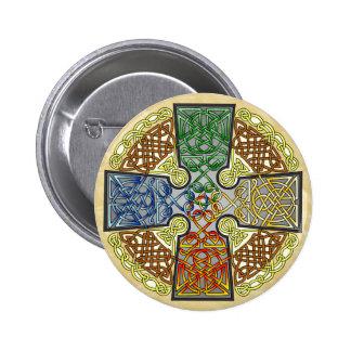 Celtic Art Cross, Earth, Air, Wind, Fire Pinback Button