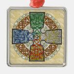 Celtic Art Cross, Earth, Air, Wind, Fire Christmas Ornaments