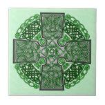 Celtic Art Cross Green Ceramic Tiles