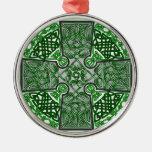 Celtic Art Cross Green Christmas Ornament