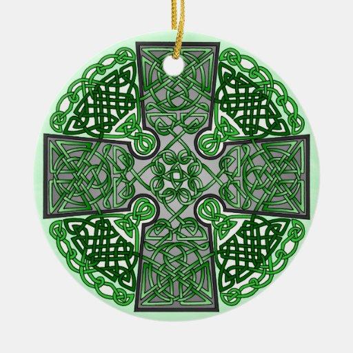 Celtic Art Cross Green Christmas Tree Ornament