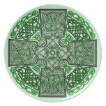Celtic Art Cross Green Dinner Plates