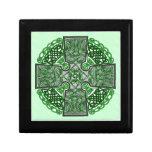 Celtic Art Cross Green Jewelry Box