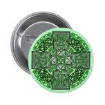 Celtic Art Cross Green Pinback Buttons