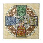 Celtic Art Cross, tierra, aire, viento, fuego Azulejo Cerámica
