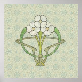 Celtic art deco floral design 2 Poster print
