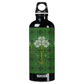 Celtic art deco floral design three white flowers aluminum water bottle