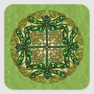 Celtic Art Dragonflies - Green Square Sticker