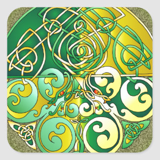 Celtic Art Dragons - Yellow and Green Square Sticker