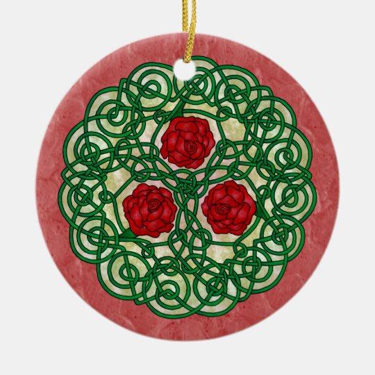 Celtic Art Roses Red Ceramic Ornament