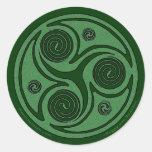Celtic Art Sticker, Triskel Spiral #2 Classic Round Sticker