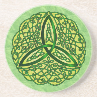 Celtic Art Trinity Knot Green and Gold Beverage Coaster