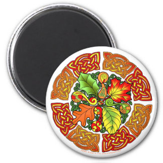 Celtic Autumn Leaves 2 Inch Round Magnet