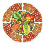 Celtic Autumn Leaves Classic Round Sticker