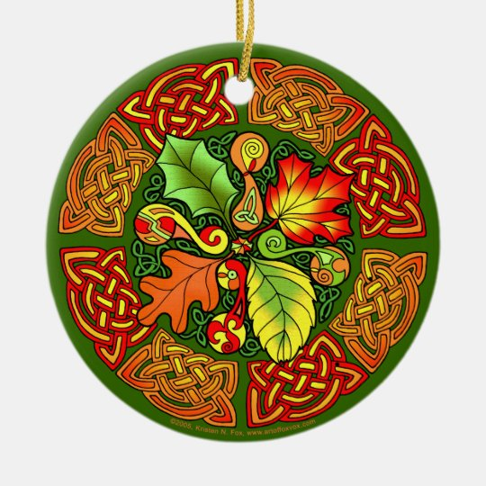 Celtic Autumn Leaves Ornament