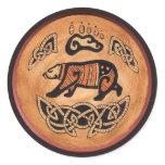 Celtic Bear Classic Round Sticker