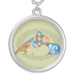 Celtic Bird and Rabbit with Frame Silver Plated Necklace